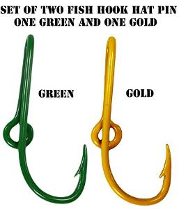Custom Colored Eagle Claw Packers inspired Team Spirt Hat Fish Hook Pins Green/Gold One Green and One Gold Hat Hook Clip