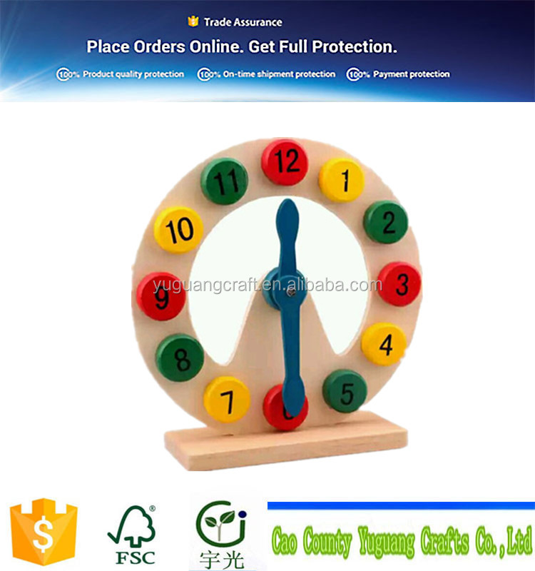 handmade clock table /wood numbers/ wooden model for school