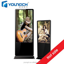 Floor stand commercial display screen 43 inch totem lcd high responsiveness 10 point touch screen infrared frame ground install