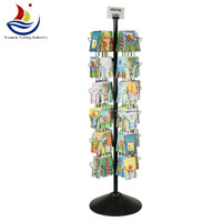 Tall Rotating Wire greeting card display stands Black Wire display stand with Sign Holder