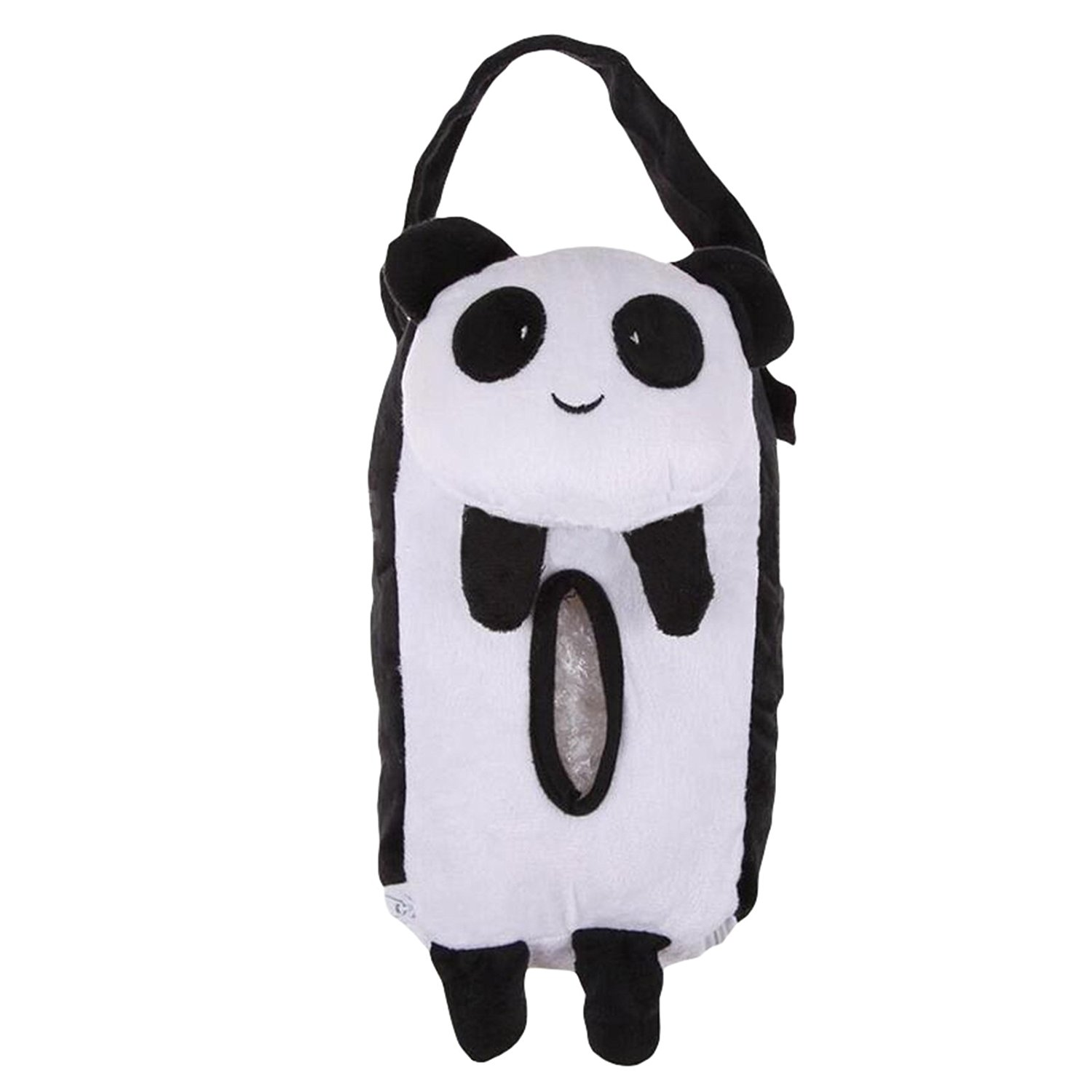 LADEY Cute Soft Portable Hanging Car Tissue Box Cover Car Accessories Home Office Car Rectangle Animal Tissue Box Cover Holder Paper Box Bathroom Storage Hot(Panda)