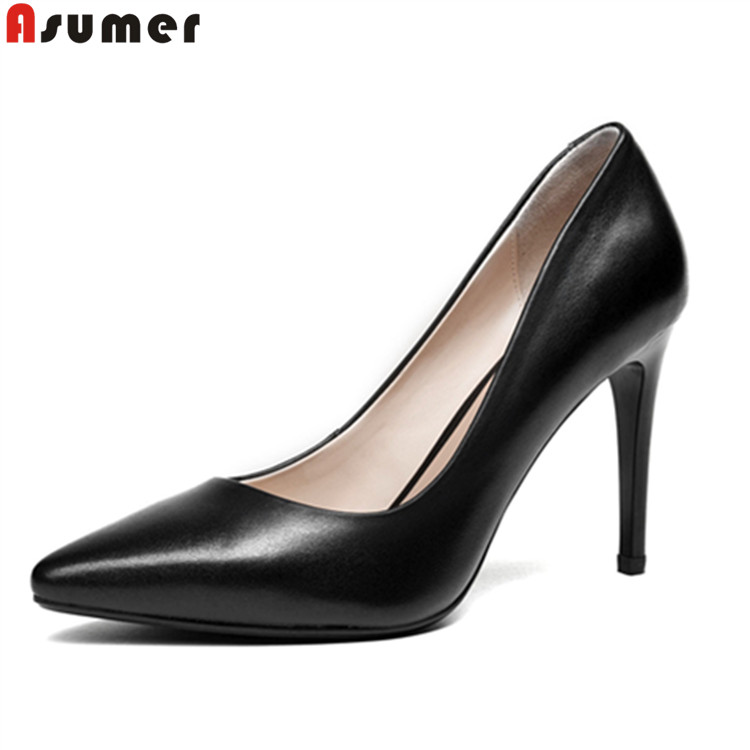 shoes Asumer high heel woman leather genuine fashion elegant qxU0OZq