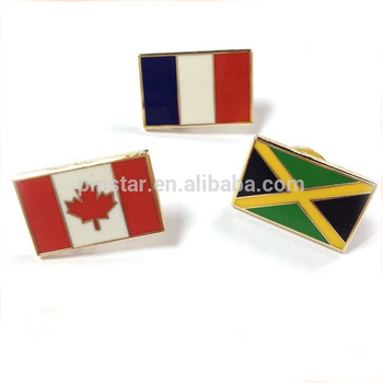 Rectangle gold National/Country Friendship Flag Lapel Pin custom Pin Badge