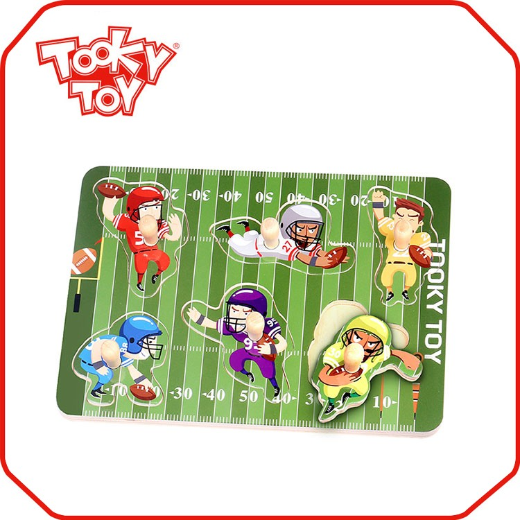 Children's educational toys American football wood puzzle