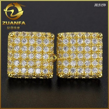 Micro Pave Vvs Lab Created Diamond Hip Hop Earrings Men Gold