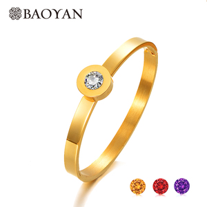 BAOYAN 316L Stainless Steel Replaceable Stone Bangle for Women China Joyas de Acero Inoxidable al por Mayor