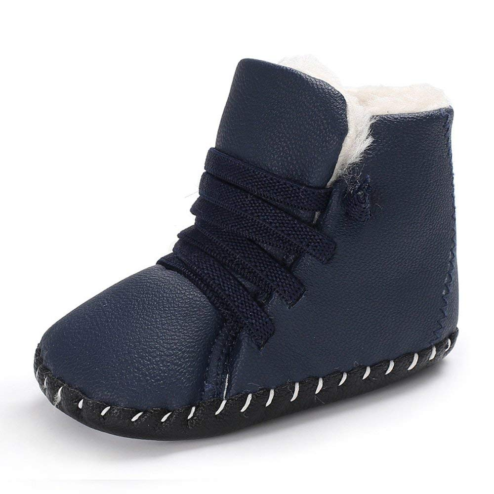"""CiiaoLeoo Baby Girls Boys Winter Leather Boots Soft Sole Infant Toddler Prewalker Full Fur Lined Warm Ankle Snow Boots Shoes (S: Insole len 4.33"""", Blue)"""