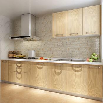 Stainless Steel Kitchen With Wooden Texture Cabinet Door