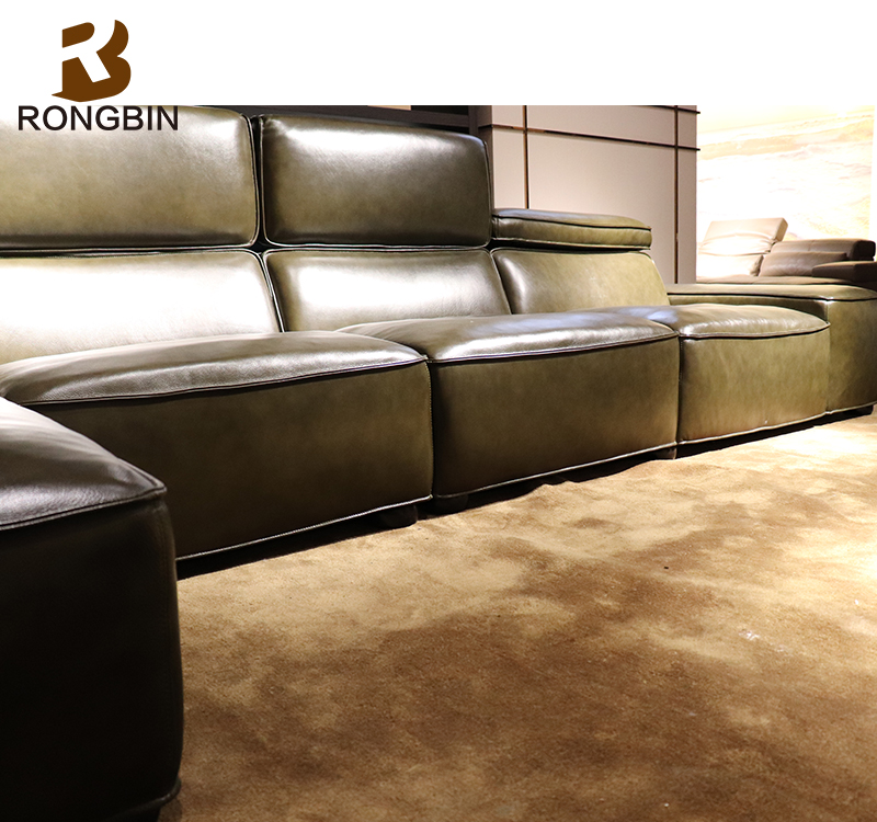 ... Italy Imperial Venice Leather Furniture Modern Blair Nova Leather Sofa  With Adjustable Headrest ...