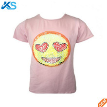 Newest Fashionable Women's Cotton Polyester Blend Short Sleeve Reversible Sequin t-shirt tee shirt