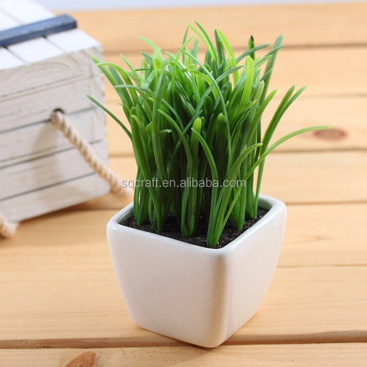 fake succulent bonsain plant with white pot for room decoration