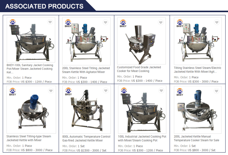 800L Automatic Temperature Control Gas-fired Jacketed Kettle Mixer