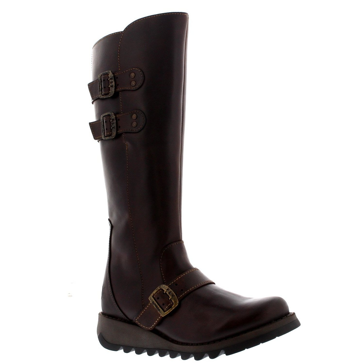 3e0c3b8995fd Get Quotations · Womens Fly London Solv Leather Wedge Riding Winter Knee  High Snow Boots