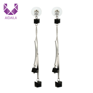 AIDAILA Discount Black Extra Long Cubic Agate Chandelier Earrings