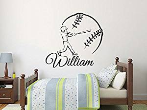 "Baseball Name Wall Decal Boy Custom Personalized Boys Name Decor Vinyl Decal Baseball Kids Teens Boys Room Sports Wall Decal Nursery ZX261 (n) (28"" Tall (inches))"