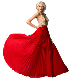 Crystal Dress Party Gowns Golden Beads Long Evening Dress Red 2018 High Quality Halter