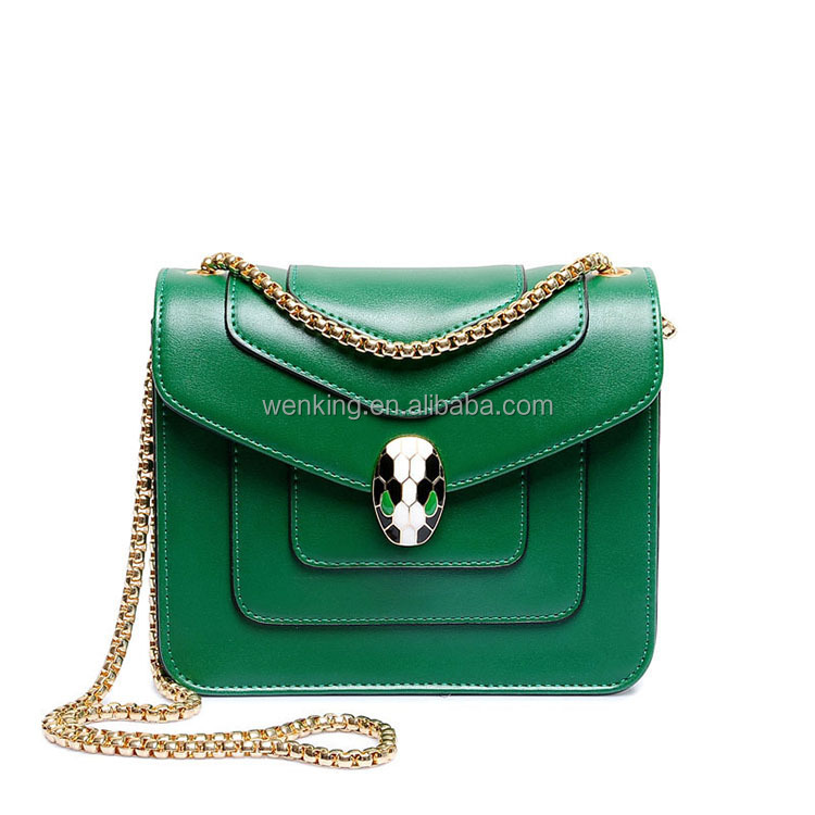2017Green Wholesale PU Metal Chain Women Handbags Snake Head Buckle Small Purse Shoulder Bag Women Bag Ladies bangkok bags