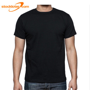 Stock Mens Black Round Crew Neck T Shirts