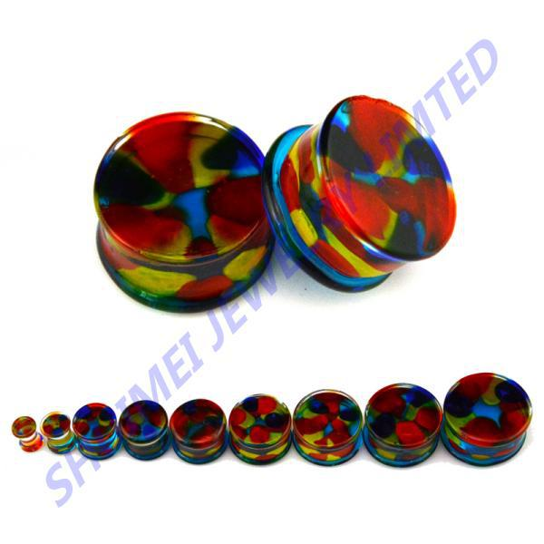 Price per 1 Piece only. Saddle Ear Plug Body jewelry Orange Pebble Pyrex Glass Double Flared