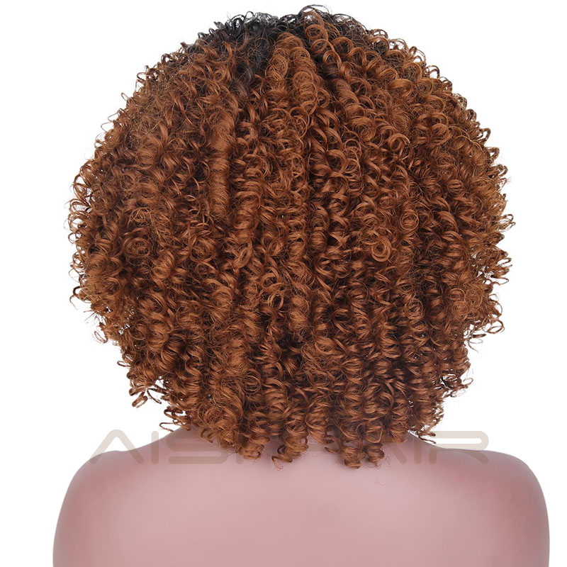 Aisi Hair Top Quality Afro Short Bob Kinky Curly Wholesale Heat Resistant Synthetic Ombre Brown Dark Root Wigs For Black Women