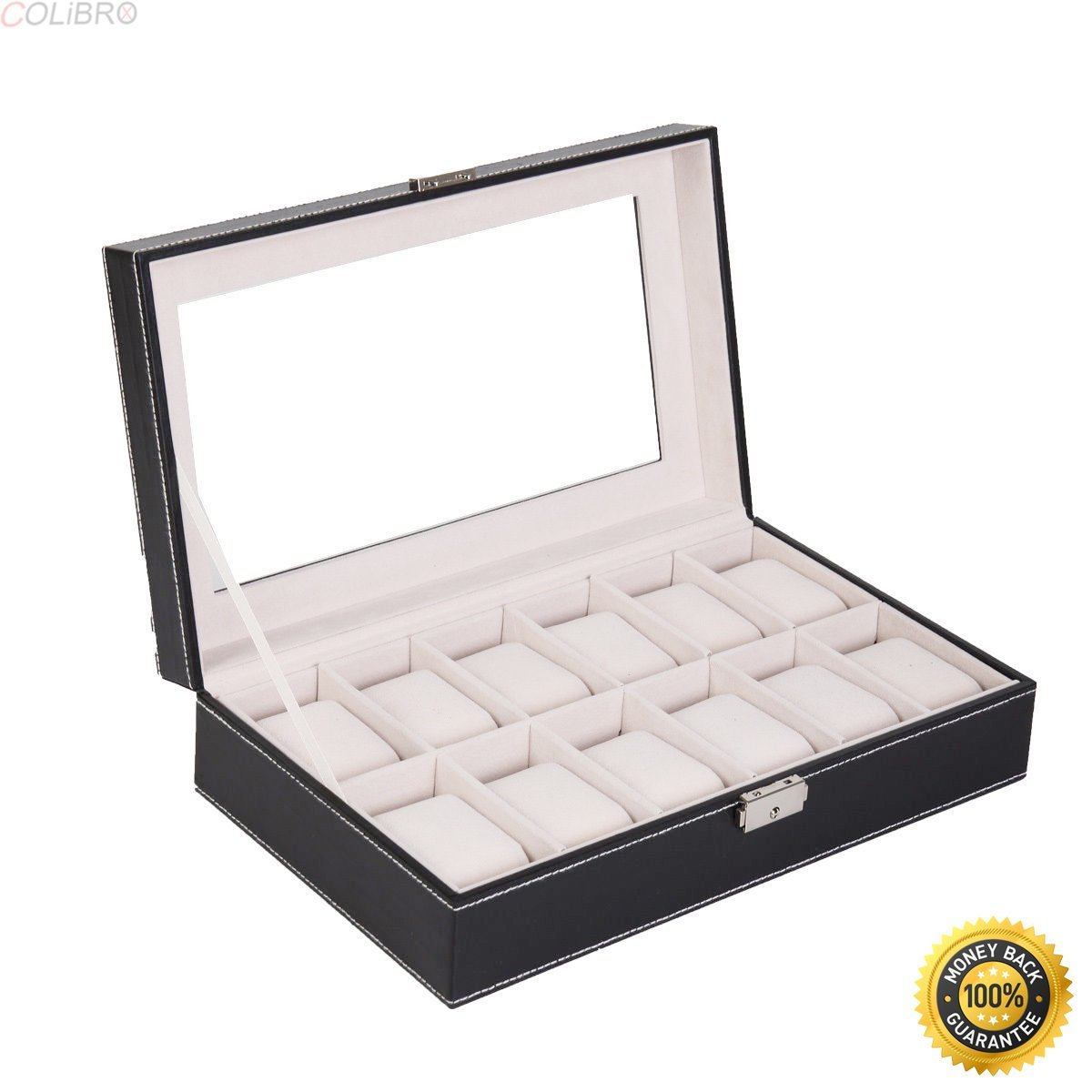 8ace61bf3 Get Quotations · COLIBROX.12 Slot Watch Box Display Organizer Glass Top Jewelry  Storage Christmas Gift New