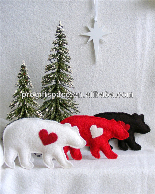 2017 hot sell Eco friendly handmade xmas felts polar bear decoration made in China