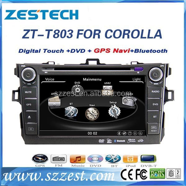 ZESTECH Factory CE certification and 8'' 2 DIN Car dvd for <strong>Toyota</strong> <strong>Corolla</strong> 2012 with GPS+Bluetooth+Radio+dvd+MAP+Rear view camera