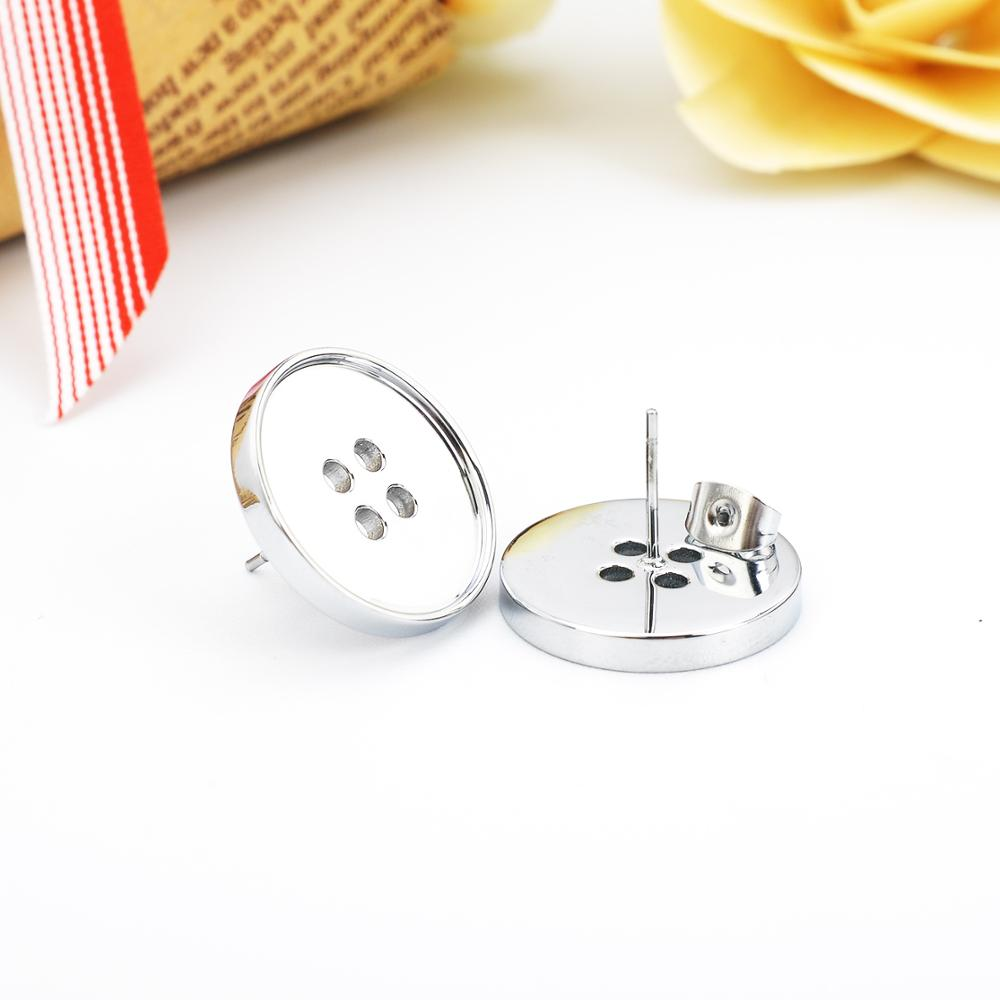 Wholesale New Design Stainless Steel Button Design Earring Charms