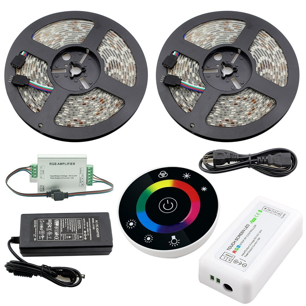 IWISHLIGHT® 32.8Ft 10M SMD 5050 600LEDs Waterproof Color Changing RGB LED Strip Lighting + Round Touch Remote + RGB Strip RF Controller + Power Supply Adapter