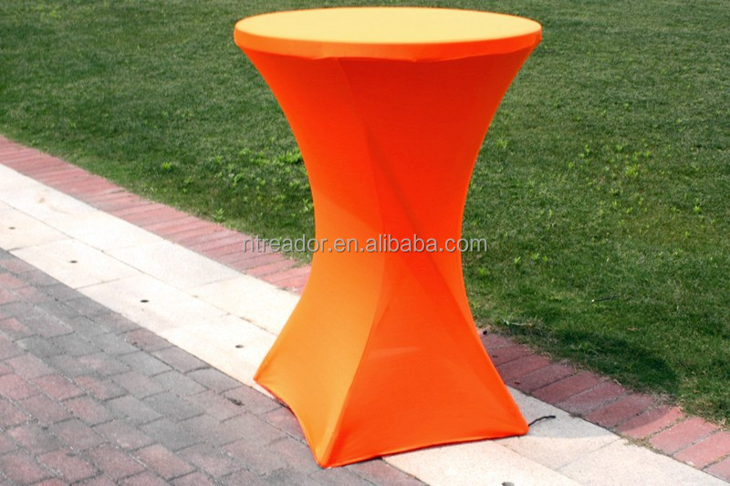 China supplier popular spandex elastic cocktail table covers tablecloths linen high quality for wedding decoration