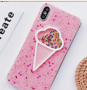3D Dynamic Glitter Pink Ice Cream Phone Case for Iphone 678p xs max
