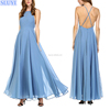 Elegant women blue maxi dress sleeveless chiffon backless customized latest long gowns designs pleated pictures of party dresses