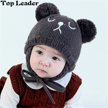 12f6a91df95a Top Leader New Winter Baby Hat 0-2 Years Old Bear Earmuffs Knitted Beanie