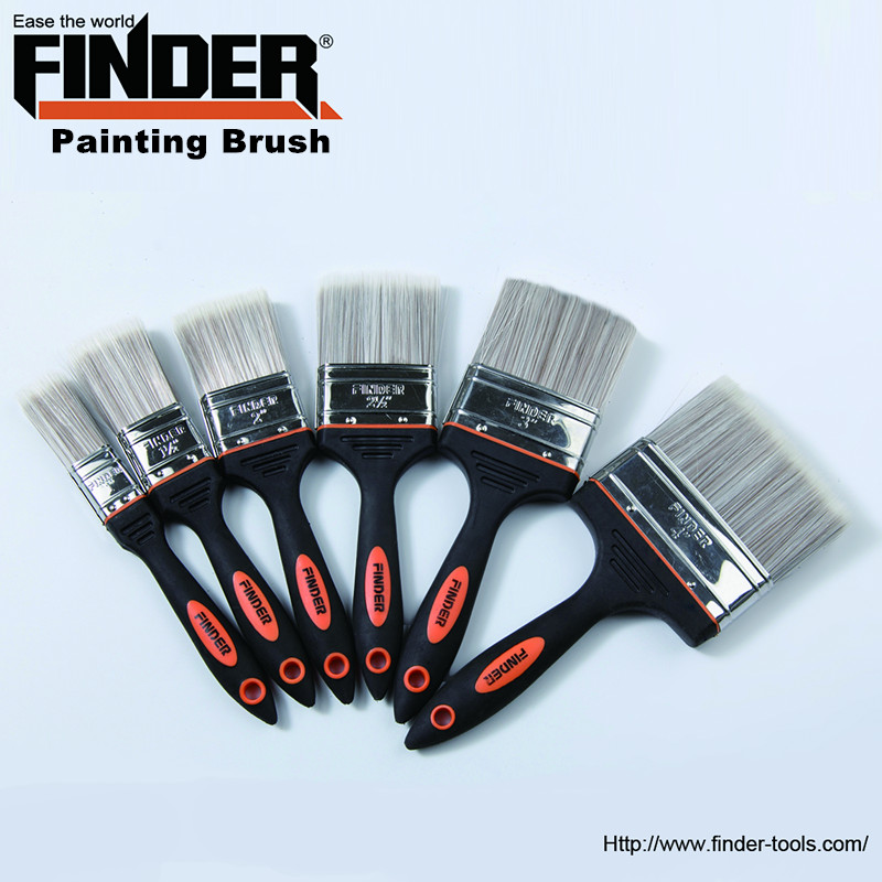 Wholesale High quality Black two-color rubber and palstic handle Painting Brush