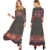 African style pattern print wholesales ethnic clothing ladies fancy boho long sleeve lace up maxi dresses women