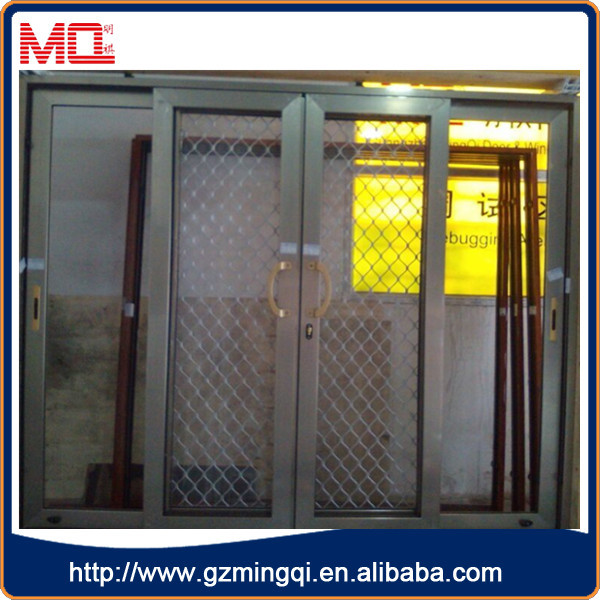 Double glazed sliding aluminium insect screen door with for Double sliding screen door