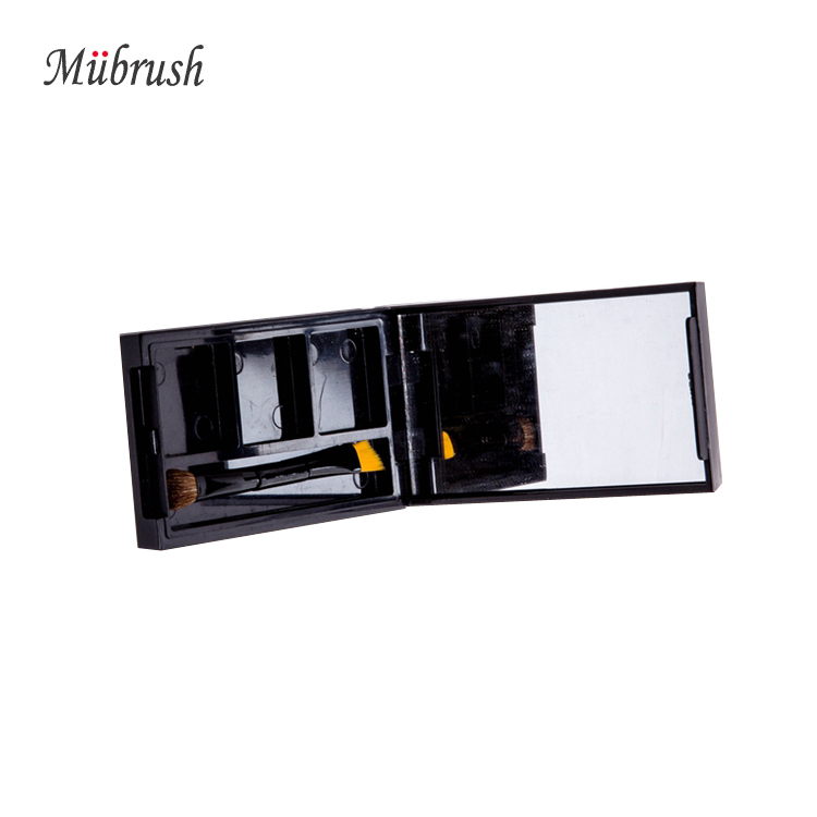 2016 Newest Rectangle Black Plastic Cosmetic Eyeshadow Palette Packaging with Mirror