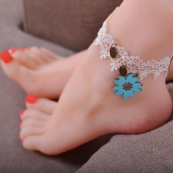 Queena En Gros La Main Dentelle Blanche Tatouage Pied Bijoux Fleur