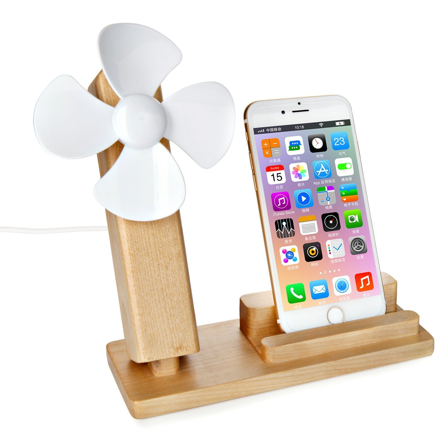 VIMVIP Wooden Cell Phone Stand,Natural Wood Smartphone Holder with USB Fan for iPhone 7 / 7 Plus / 6s / 6s Plus, Samsung Galaxy S7 / S7 Edge / Note 5, Google Nexus 6 / 5 and More (White)