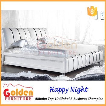 Simple Bedroom Furniture,White Wave Shaped Faux Leather Bed G855 ...