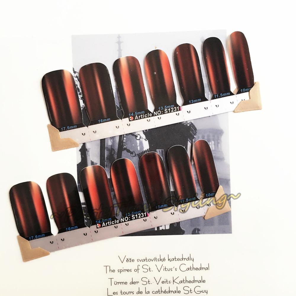 Black matte Smooth surface Nail Art Sticker Patch 14 pcs set Waterproof Decals Foils Gel Polish