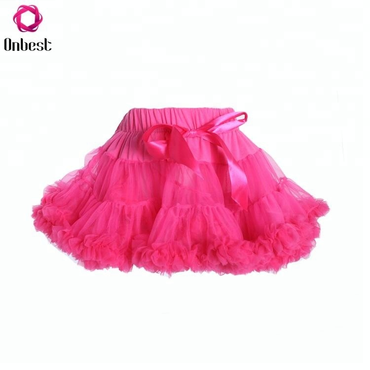 pleated solid color short skirt baby girls ballet tutu skirt with bow belt