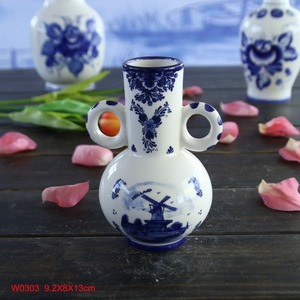 Qing dynasty Kangxi period reproduction Bright Blue White Flower Bird Porcelain Vase