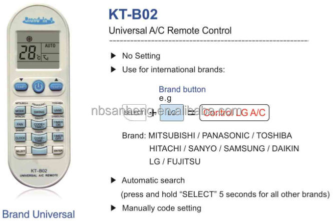 Universal Remote Control for AC (KT-B02), View remote control for blue star  ac, Universal Remote Control for AC -- SANHENG Product Details from Ningbo