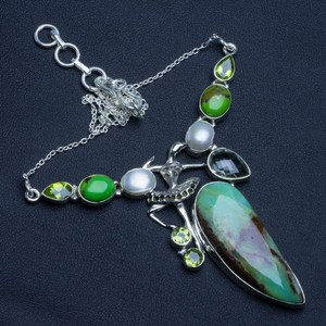 Australian Chrysoprase,Green Amethyst,River Pearl and Peridot 925 Silver Necklace 18""