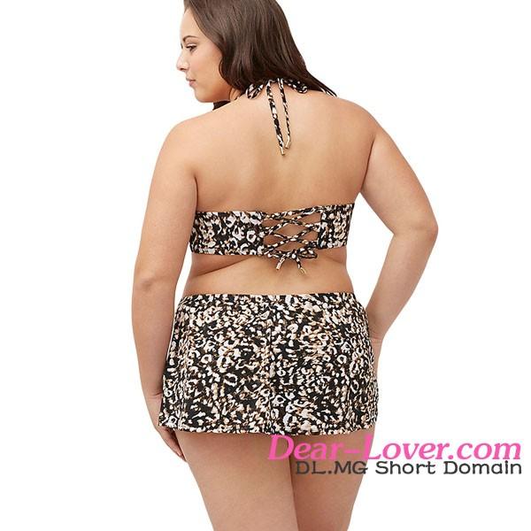 Extreme Sexy Wholesale Indian Women Xxx Animal Print Tie Front Bandeau Plus Size Skirt Swimsuit 2016