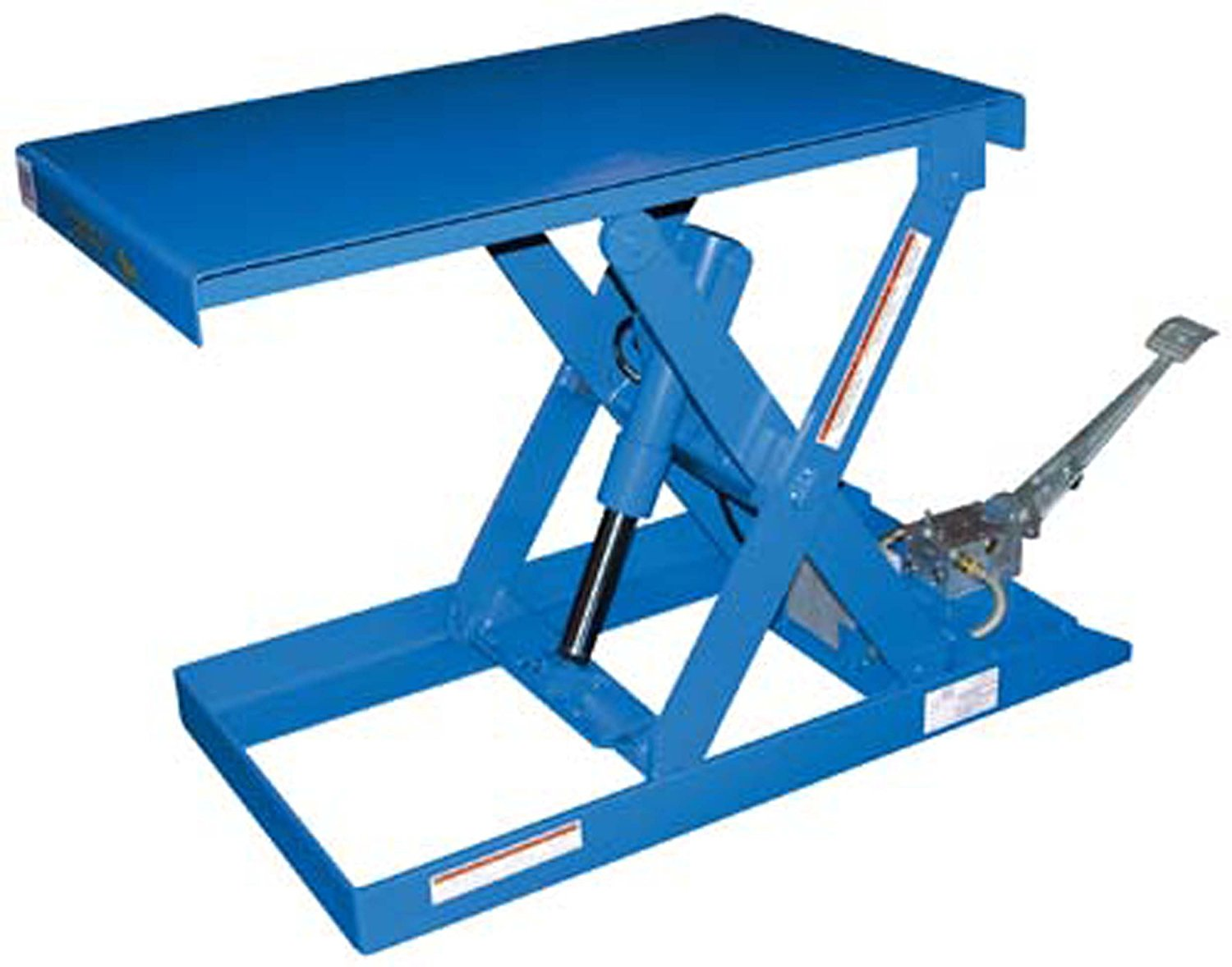 """IHS SCTAB-500 Steel Foot Pump Scissor Lift Table with Painted Blue Finish, 500 lbs Capacity, 33"""" Length x 20"""" Width Platform, 6"""" - 28"""" Height"""