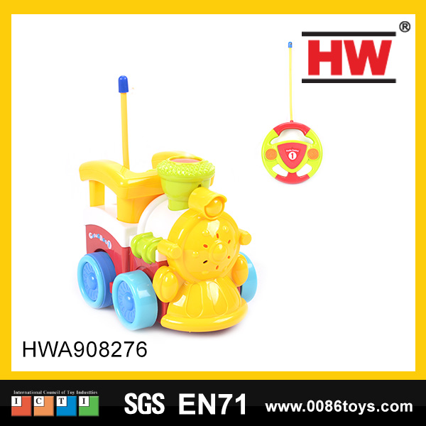New design 2 channel plastic remote control kids toy cartoon train