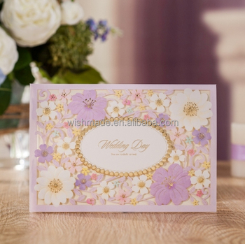 Wishmade Purple Laser Cut New Design Paper Invitation Cards Models