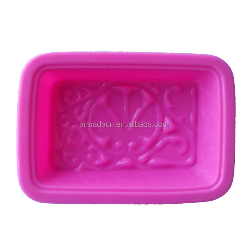 New Arrival debossed and engraved design loaf silicone decorative soap molds
